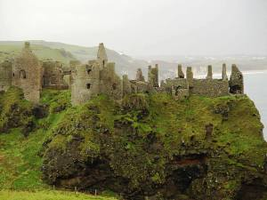 "The ruins of Dunluce Castle ""now"" in Ireland."