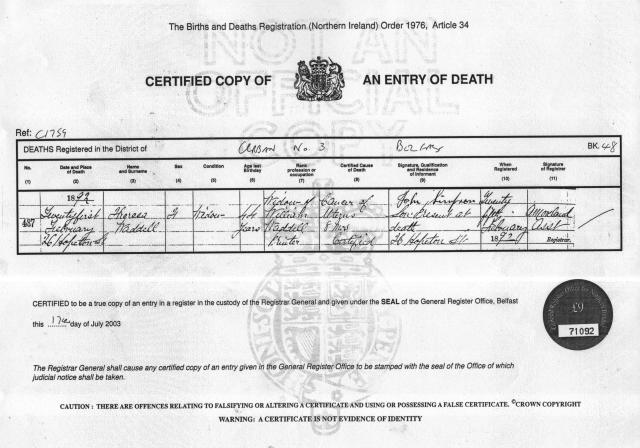 Death Record - Theresa Waddell (nee Scott)