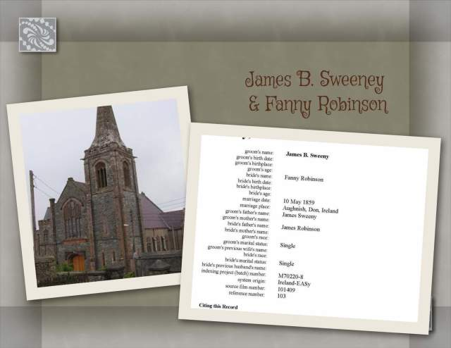 James Baxter Sweeney & Fanny Robinson  Marriage Record
