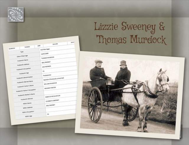 Lizzie Sweeney & Thomas Murdock Marriage Record