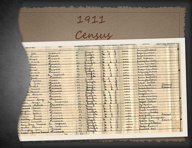 1911 Scottish Census - Return of all Commissioned Officers, Warrant Officers, Non-Commission Officers, Trumpeters, Drumers and Rank