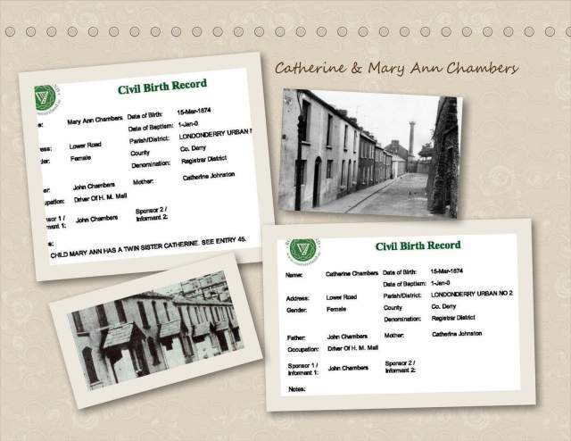 Catherine & Mary Ann Chambers - Birth Records