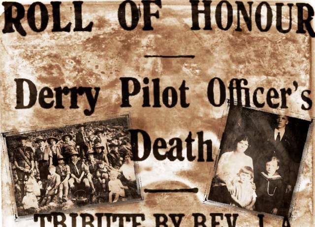 Roll of Honour!  Derry Pilot Officer's Death – Tribute by Rev. J.A. Donaldson, B.A. …